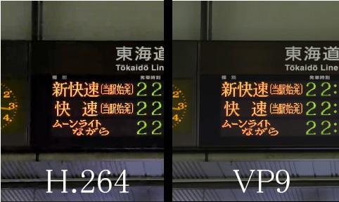 h264とvp9の画質比較