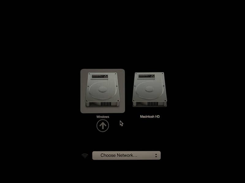 起動時の起動ディスク切り替え画面